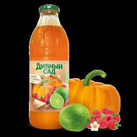 Нектар из тыквы, малины и лайма в стеклянной бутылке 1 литр
