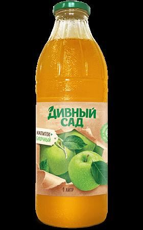 Напиток яблочный в стеклянной бутылке 1 литр