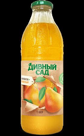 Напиток грушевый в стеклянной бутылке 1 литр