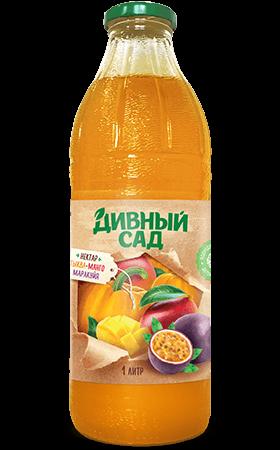 Нектар из тыквы, маракуйи и манго в стеклянной бутылке 1 литр