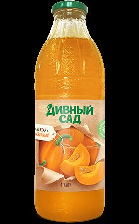 Нектар тыквенный с мякотью в стеклянной бутылке 1 литр